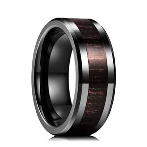 Men's Black Koa Wood Ceramic Band/Ring